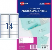 Avery Lasel Label L7563 Clear  PK25 sheets 14/sheet