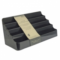 Deflecto Business Card Holder Landscape 8pocket 90804 Black