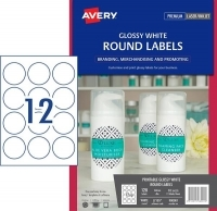Avery L7105 Branding Label PK10 12/sh Gloss White Round 60mm Dia