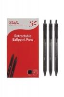 STAT Ballpoint Pen Retractable 1.0mm BX12 Medium Black