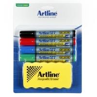Artline Whiteboard Marker 577 (4set) & Magnetic Eraser Kit