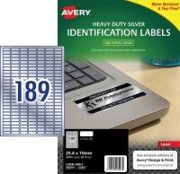 Avery Laser Label  L6008 Heavy Duty Silver PK20 189/sh 25.4x10