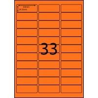 Rediform Colour Labels A4 Bx100 (33/sh) 70x25.4 Flouro Orange
