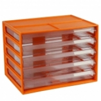 ITALPLAST A4 DOCUMENT CABINET 5 Drawer Mandarin Clear