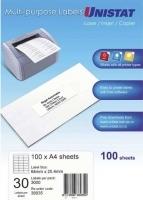 Unistat Labels 38935  BX100 Sheets (30 labels/sheet) 64x25.4mm