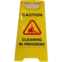 CLEANLINK SAFETY SIGN Cleaning In Progress Yellow 32x31x65cm