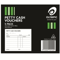 OLYMPIC PETTY CASH VOUCHER PAD 141065 50 LEAF 100X120 PKT5