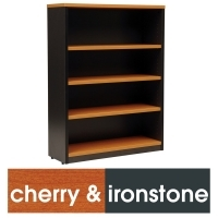 LOGAN BOOKCASE 3 Shelf 1200x900 Cherry & Ironstone