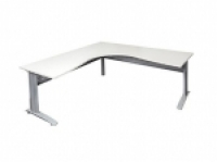 Rapid Span Corner Workstation 1500x1500x700 White/Silver Leg