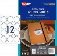 AVERY L7100 ROUND GLOSS LABEL 12up 60mm PK10sheets