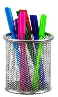 Italplast i343S Silver Wire Mesh Pen & Pencil Cup