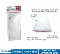 Cellophane Bag Party Central Peel N Seal 120 x 200mm Pack 50