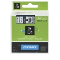 Dymo Labelling Tape D1 19mm x 7M 45800 Black on Clear