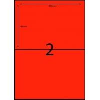 Rediform Colour Labels A4 Bx100 (2/sh) 210x148 Flouro Red