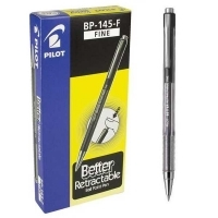 Pilot BP145 Retractable Pens BX12 Fine Black 623250