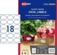 Avery L7102 Branding Label PK10 18/sh Gloss White Oval 63.5x42.3