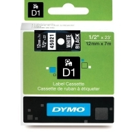Dymo Labelling Tape D1 12mm x 7M 45021 White on Black