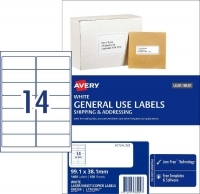 Avery General Use Labels L7163GU BX100 14/sheet 99.1x38.1mm
