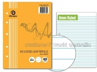 Olympic A5 Loose Leaf Refill Sheets 6mm Feint Ruled PK40sheets