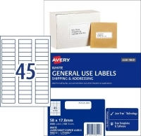 Avery General Use Labels L7156GU BX100 45/sheet 58x17.8mm