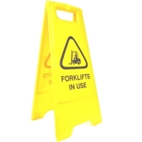 CLEANLINK SAFETY SIGN Forklifts In Use 32x31x65cm