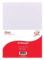STAT Ruled Office Pads A4 50LF (55gsm) PK10