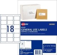 Avery 938210 General Use Labels L7161GU BX100 18/sh 63.5x46.6mm