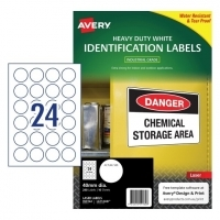 Avery Laser Label  L6112HD Heavy Duty PK10sh 24/sh 40mm round