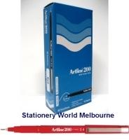 Artline Fineliner Marking Pens No 200 (0.4mm) BX12 Red
