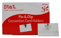 STAT Name Badge Convention Card Holder Pin & Clip Box of 50