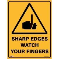 SAFETY SIGN - Sharp Edges Watch Fingers 450mmx600mm Metal
