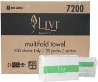 Livi 7200 Basics Multifold Interleave Hand Towel 1Ply 200sh BX20