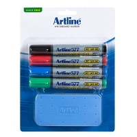 Artline Whiteboard Marker 577 (4set) & Eraser Kit 157781