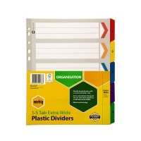 Divider A4 Manilla Reinforced Color 1-5Tab Extra-Wide 36150F