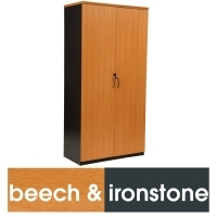 LOGAN STATIONERY CUPBOARD 1800X900 Beech & Ironstone