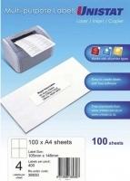 Unistat Labels 38930  BX100 Sheets (4 labels/sheet) 105x148mm