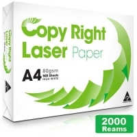 Copy Right A4 Paper 80gsm White H(400bxs:2000reams) 5Pallets