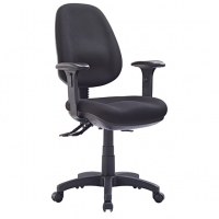 Style P350HC-MB Task Office Chair High Back +Arms - Black