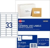 Avery 938200 General Use Labels L7157GU BX100 33/sheet 64x24.3mm