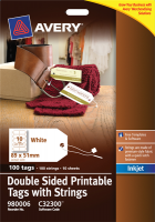Avery C32300 Printable Tags With String Double Sided PK100 Tags