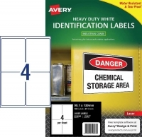 Avery Laser Label  L7069 Heavy Duty PK25 4/sh 99.1x139