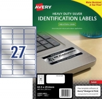 Avery Laser Label  L6011 Heavy Duty Silver PK20 27/sh 63.5x29.6