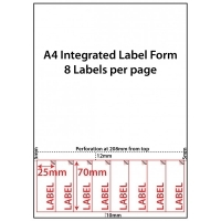 Integrated Label Forms LF2570-8 PK500 8/sheet 25x70mm