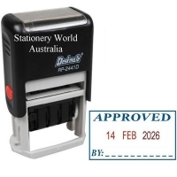 Deskmate Self-Ink Dater APPROVED / Date / BY (2colour) RP2441D