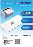 Unistat Labels 38936  BX100 Sheets (20 labels/sheet) 98x25.4mm