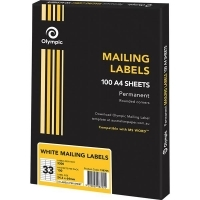 OLympic Labels A4 BX100 (Ctn-5bxs) (33/sheet) 64x24.3mm