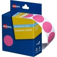 Avery Dispenser Label 24mm Pink BX500