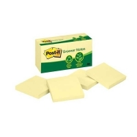 Post It Notes 654RP Recycled Yellow 76x76mm PK12