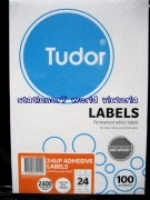 Tudor Laser Inkjet Labels A4 BX100 141075 (24/sh) 70x35mm